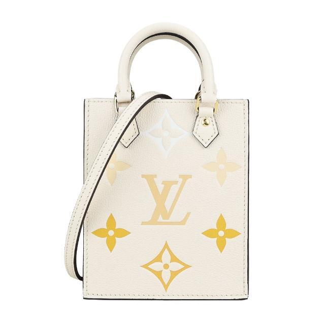 【Louis Vuitton 路易威登】新款Petit Sac Plat 漸層迷你手提斜背包(米黃)
