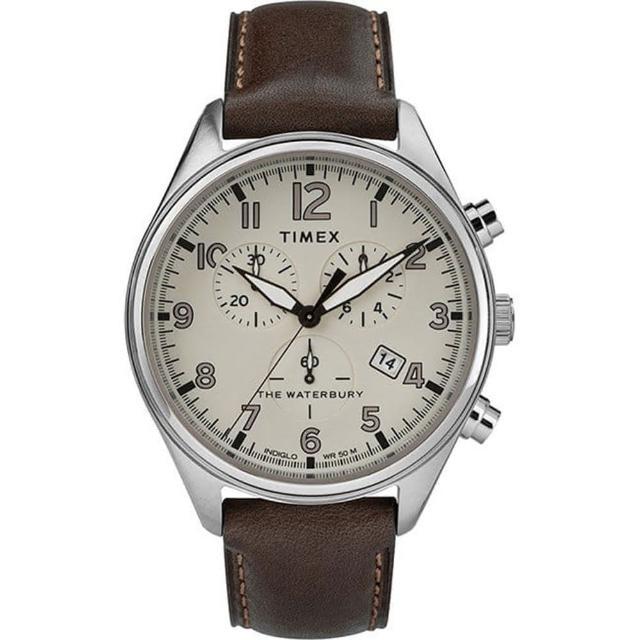 【TIMEX】三眼計時經典手錶-白/咖啡42mm(TXTW2R88200)
