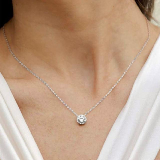 【CReAM】Anila 美國AAA+ CZ亮鑽16顆亮鋯石純銀鍍14K白金項鍊(白金色/可調整長度)