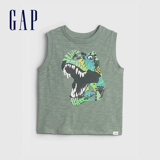 【GAP】男幼童 趣味印花無袖T恤(823743-綠色)