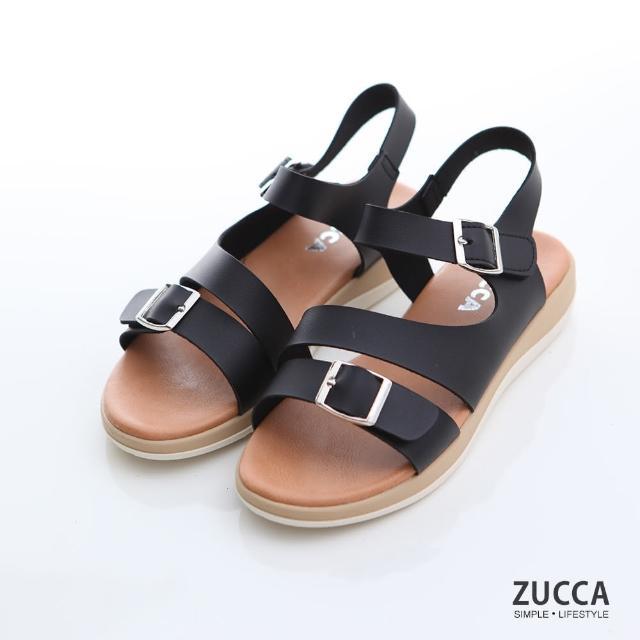【ZUCCA&bellwink】金屬框雙邊扣環涼鞋z7004bk-黑色