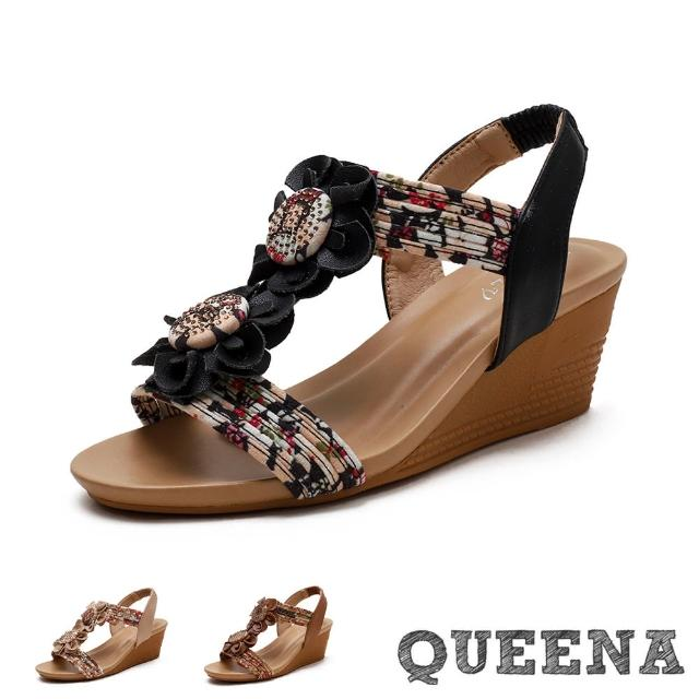 【QUEENA】楔型涼鞋 坡跟涼鞋/復古民族風彩色印花布繩花朵造型坡跟涼鞋(3色任選)