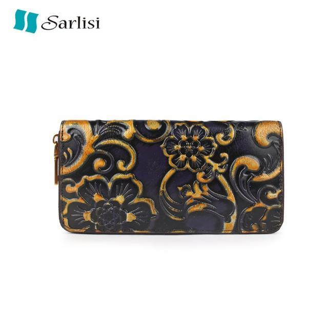 【Sarlisi】壓花頭層牛皮錢包真皮女士長款錢夾單拉鏈手拿包復古真皮卡包手包