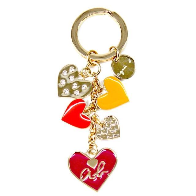 【agnes b.】彩色愛心造型鑰匙圈(金色)