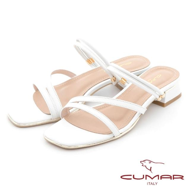 【CUMAR】兩穿式不對稱線條粗跟低跟涼鞋(白色)