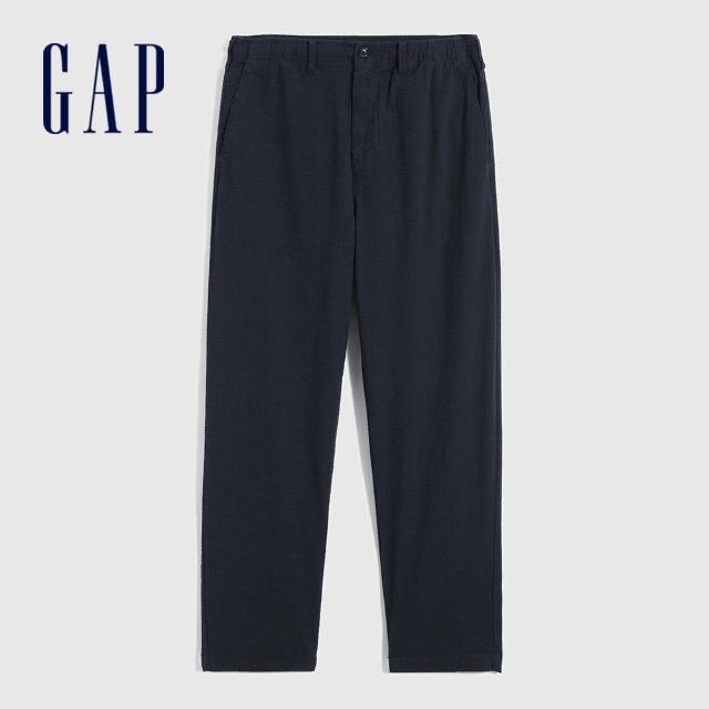 【GAP】男裝 商務鬆緊彈力休閒褲(695441-海軍藍)