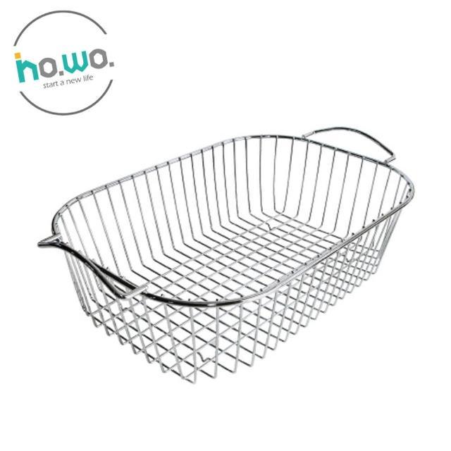 【HO.WO】橢圓形滴水籃-小(碗盤瀝水籃/不鏽鋼收納籃/不鏽鋼提籃)