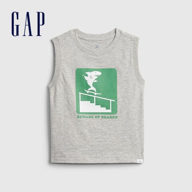 【GAP】男幼童 趣味印花無袖T恤(823743-灰色)