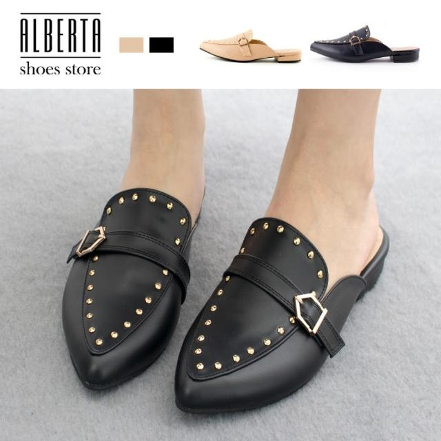 【Alberta】MIT台灣製 2.5cm穆勒鞋 率性百搭鉚釘 皮革尖頭低跟半包鞋 懶人鞋
