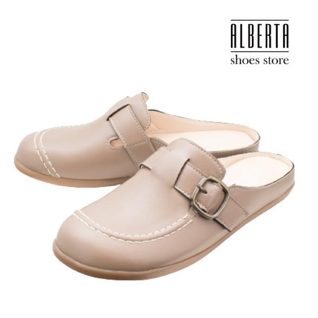 【Alberta】MIT台灣製 2cm休閒鞋 休閒百搭舒適 皮革平底圓頭半包鞋 懶人鞋 穆勒鞋