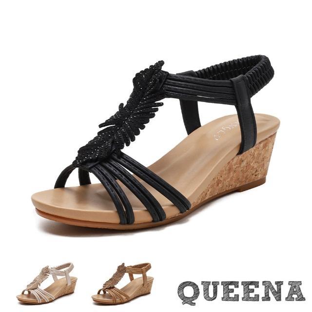 【QUEENA】坡跟涼鞋 楔型涼鞋/時尚民族風串珠編織造型坡跟涼鞋(3色任選)