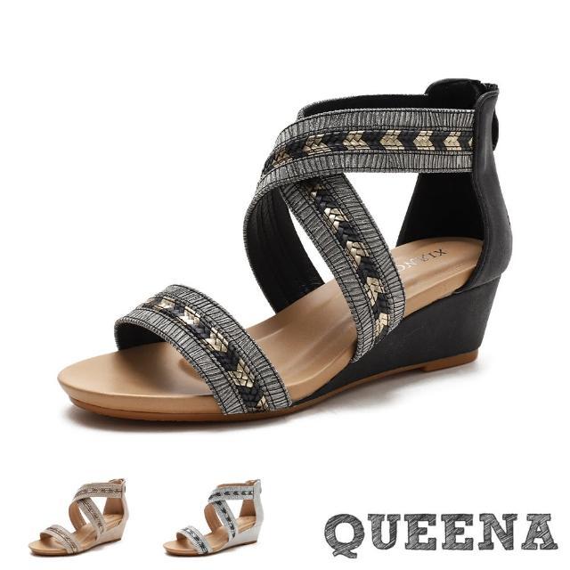 【QUEENA】坡跟涼鞋 交叉涼鞋/金屬光澤亮皮撞色線條拼接交叉造型坡跟羅馬涼鞋(3色任選)