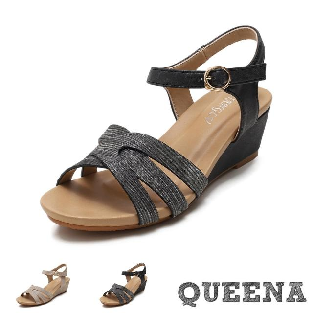 【QUEENA】坡跟涼鞋 縷空涼鞋/閃耀亮絲縷空米字造型時尚坡跟涼鞋(2色任選)