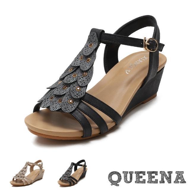 【QUEENA】楔型涼鞋 坡跟涼鞋/孔雀羽毛貼鑽飾片造型坡跟羅馬涼鞋(3色任選)