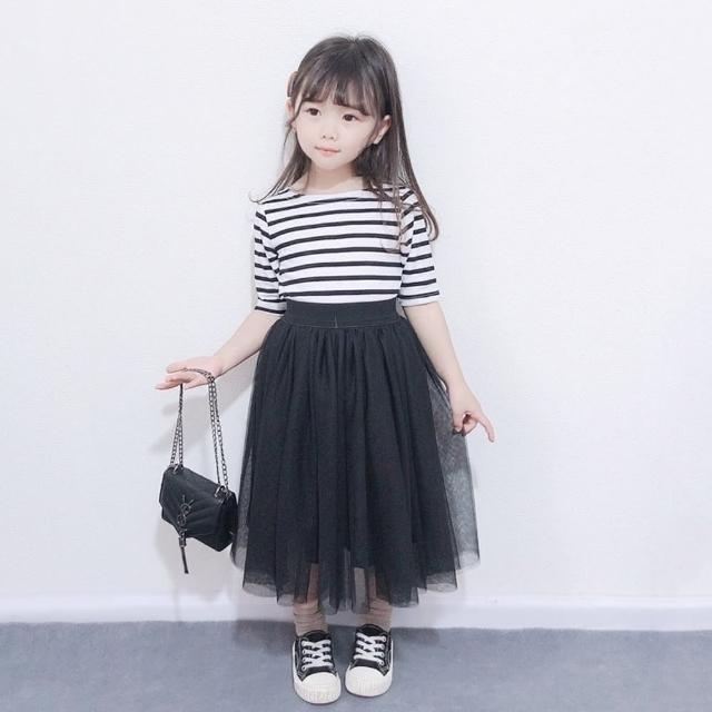 【橘魔法】經典條紋上衣+黑色中長紗裙(小孩賣場)(套裝 裙子 親子裝 兒童 中長裙 女童 現貨 童裝)