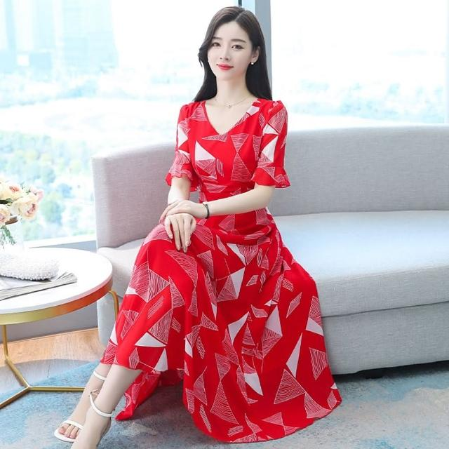 【REKO】幾何印花高腰氣質紅色長洋裝S-3XL