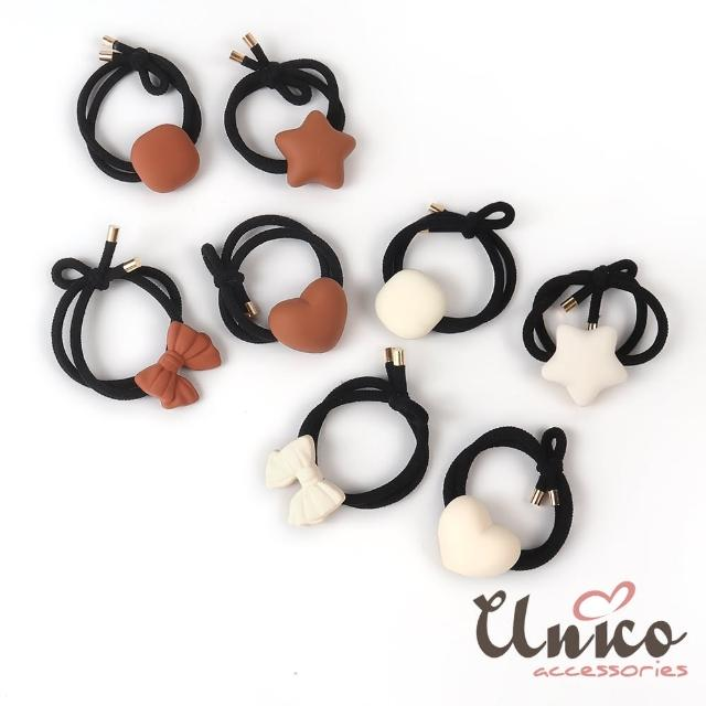【UNICO】磨砂霧感系立體蝴蝶結星形愛心方形髮圈-4入組(髮飾/配件/星形/愛心/方形/蝴蝶結)