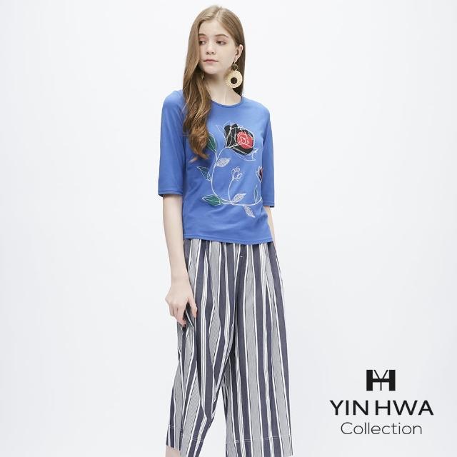 【YIN HWA 盈樺】JIONE 個性魅力玫瑰花貼布繡上衣