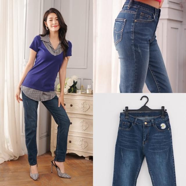 【衣心衣意】時尚造型小鄒菊中腰彈力直筒牛仔褲(藍A7541)
