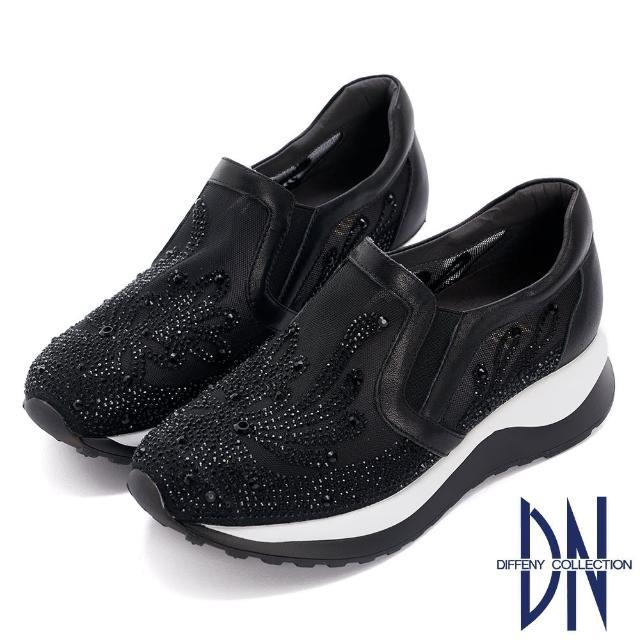 【DN】休閒鞋_閃耀鑽飾刺繡造型厚底休閒鞋(黑)