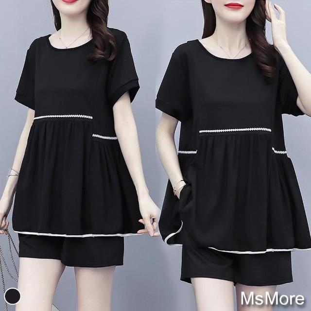 【MsMore】維納斯女神大碼寬鬆鬆緊腰短寬褲2件式套裝#109301現貨+預購(黑色)