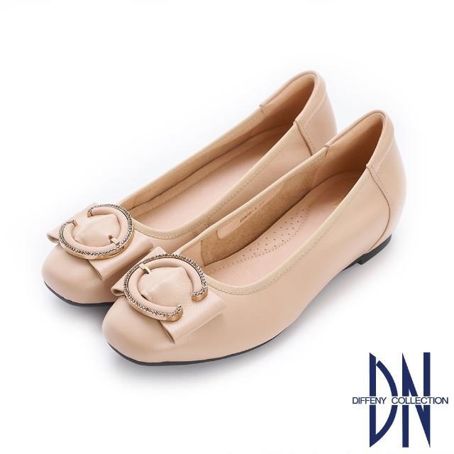 【DN】平底鞋_水鑽C字釦飾真皮內增高娃娃鞋(駝)