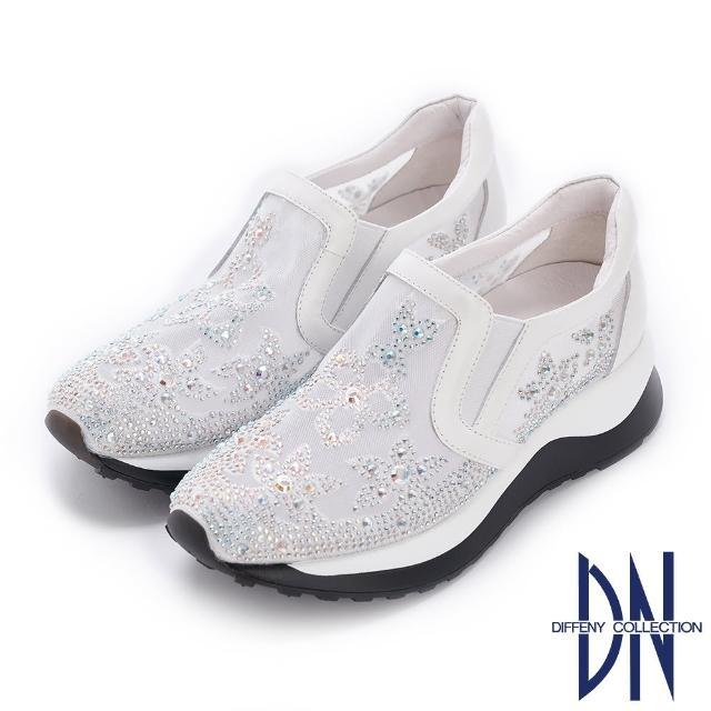 【DN】休閒鞋_花卉刺繡鑽飾點綴厚底休閒鞋(白)
