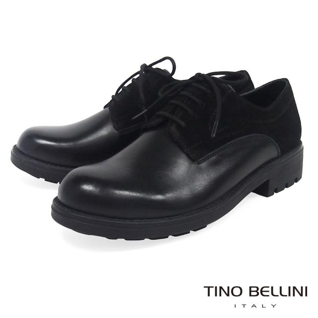 【TINO BELLINI 貝里尼】牛皮異材質拼接綁帶皮鞋B79221(黑)