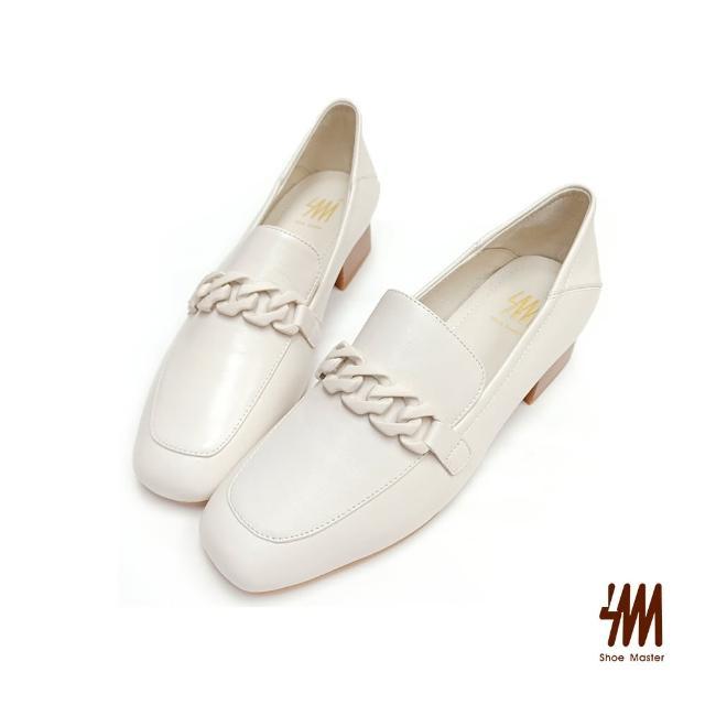 【SM】真皮方頭率性鍊條中跟樂福鞋(人氣白)