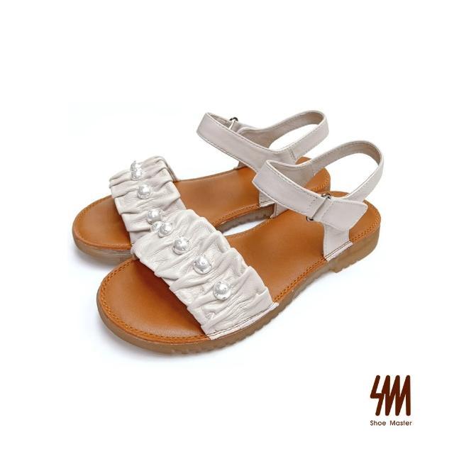【SM】真皮舒適軟Q珍珠涼鞋(米白色)