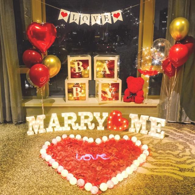 心心相印MARRYME驚喜求婚布置1組(求婚氣球 派對氣球 求婚佈置 氣球佈置 氣球套餐 裝飾 拍照道具)