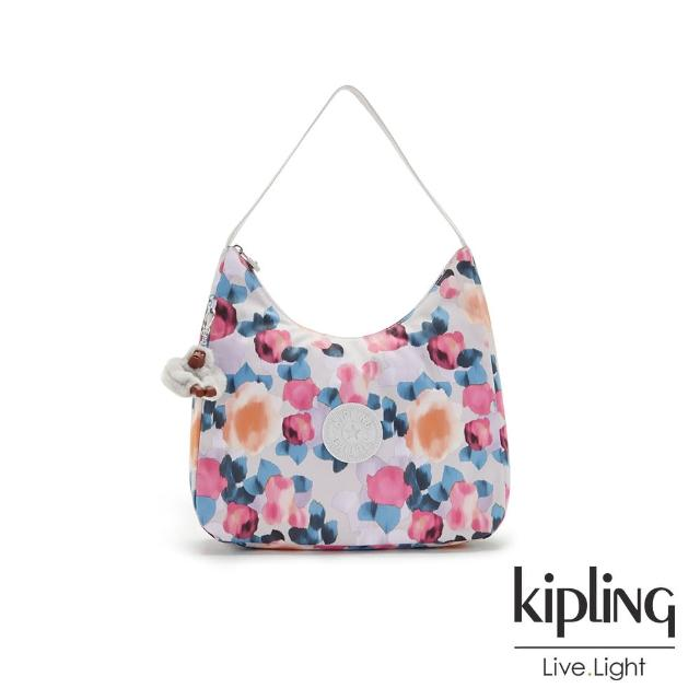 【KIPLING】繽紛夢幻花繪拉鍊造型開口手提肩背包-ISIDORA