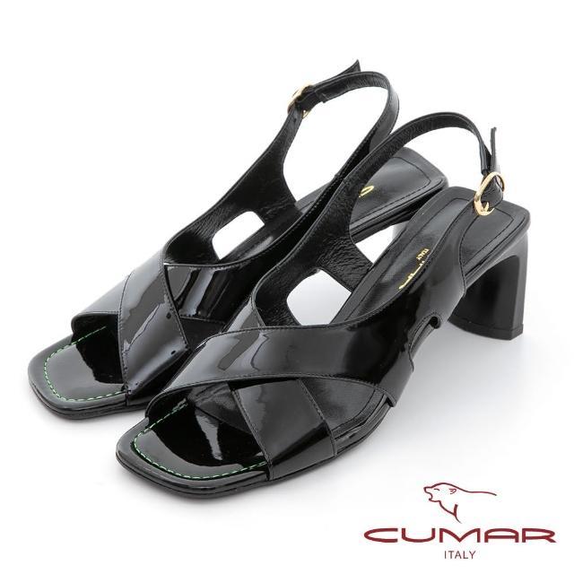 【CUMAR】時髦復古方頭漆皮大交叉扁跟涼鞋(黑亮漆皮)
