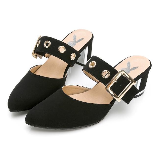 【PLAYBOY】玩美小時光 氣質高冷韓系穆勒鞋-黑-YD7315CC