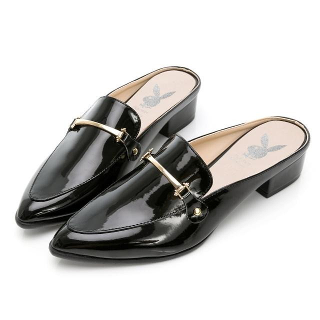 【PLAYBOY】玩美小時光 慵懶個性漆皮穆勒鞋-黑-YD7316CC