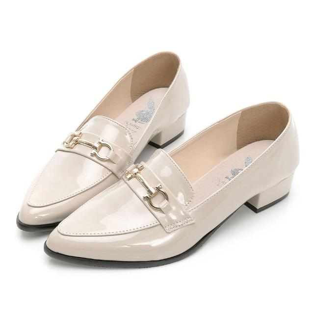 【PLAYBOY】玩美小時光 英倫格調漆皮樂福鞋-米-YD731733