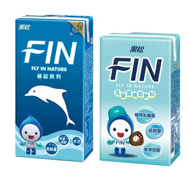 【黑松】FIN健康補給飲料300mlx1箱+FIN乳酸菌補給飲料250mlx1箱(暢銷2件組共48入)