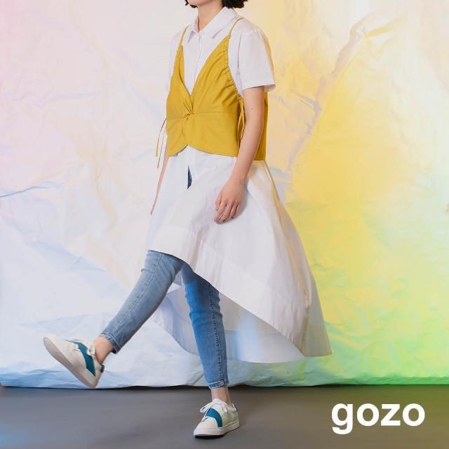 【gozo】minus g-限量系列 波浪感短袖襯衫洋裝(兩色)