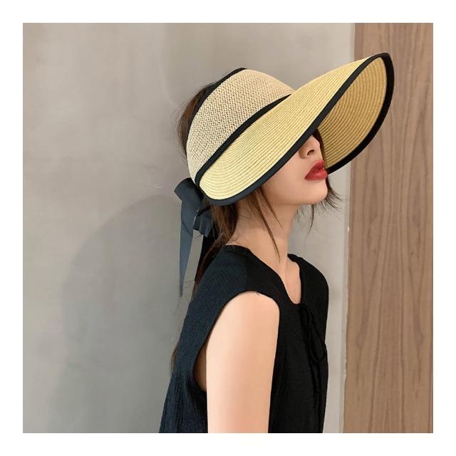 【HaNA 梨花】夏日豔陽防曬對策.可收納草編防紫外線質感空頂盆帽