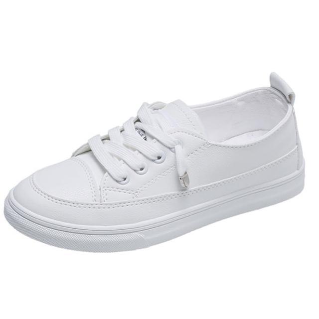 【Taroko】百搭小清新素面小花平底白色休閒鞋(3款可選)