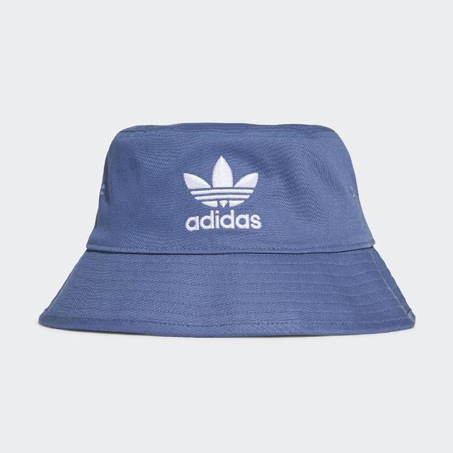【adidas 愛迪達】漁夫帽 藍 三葉草 電繡 印花 休閒 BUCKET HAT(GN4904)