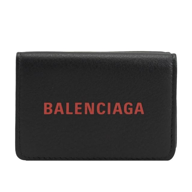 【Balenciaga 巴黎世家】經典品牌英文LOGO三折簡式短夾(黑)