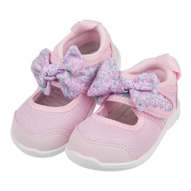 【布布童鞋】日本IFME粉色和風花繪蝴蝶結寶寶機能水涼鞋(P1H501G)