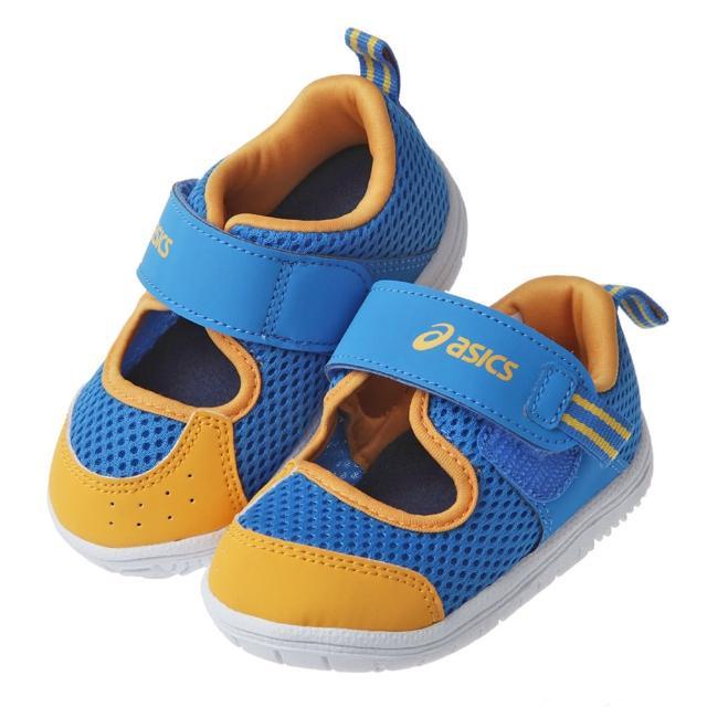 【布布童鞋】asics亞瑟士AMPHIBIAN_BABY藍橘色寶寶好涼機能學步鞋(J1G118B)
