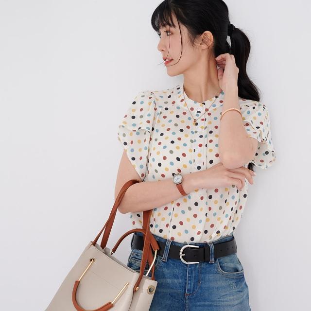 【慢。生活】荷葉袖印花垂墜女式襯衫-彩色點點-F(淺藍)