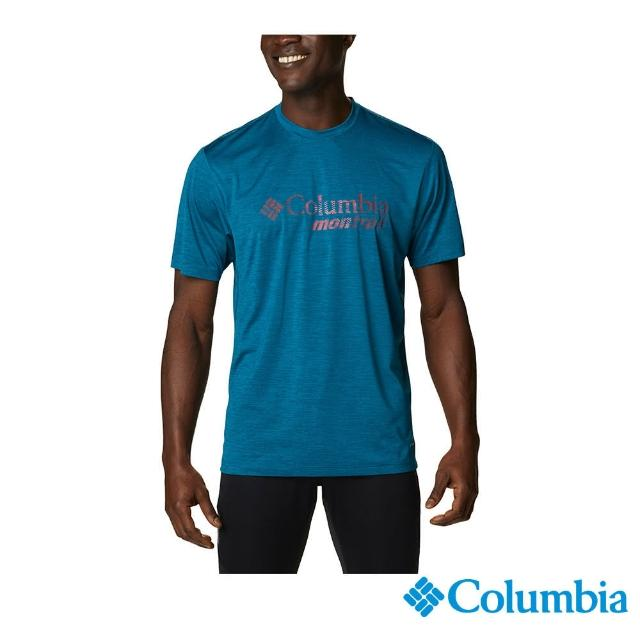 【Columbia 哥倫比亞】男款-UPF15快排短袖野跑上衣-孔雀藍(UAE03600PC / 快排.防曬.休閒)