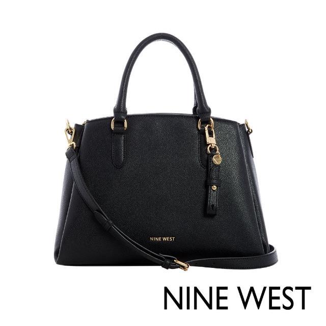 【NINE WEST】TANSY梯型附吊飾手提/側背兩用通勤包-黑色(118706)