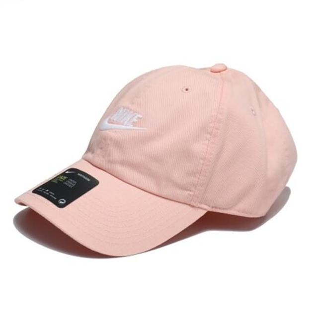 【NIKE 耐吉】運動帽 老帽 防曬 遮陽 鴨舌帽 水洗 棒球帽 台灣製 刺繡 LOGO 粉橘(913011-800)