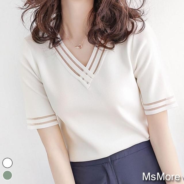 【MsMore】薄荷氛圍往紗拼接冰絲針織上衣#j109229現貨+預購(2色)