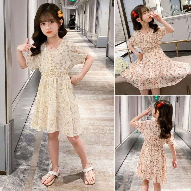 【小衣衫童裝】中大童夏季梅花雪紡珍珠扣連身裙洋裝(1090711)